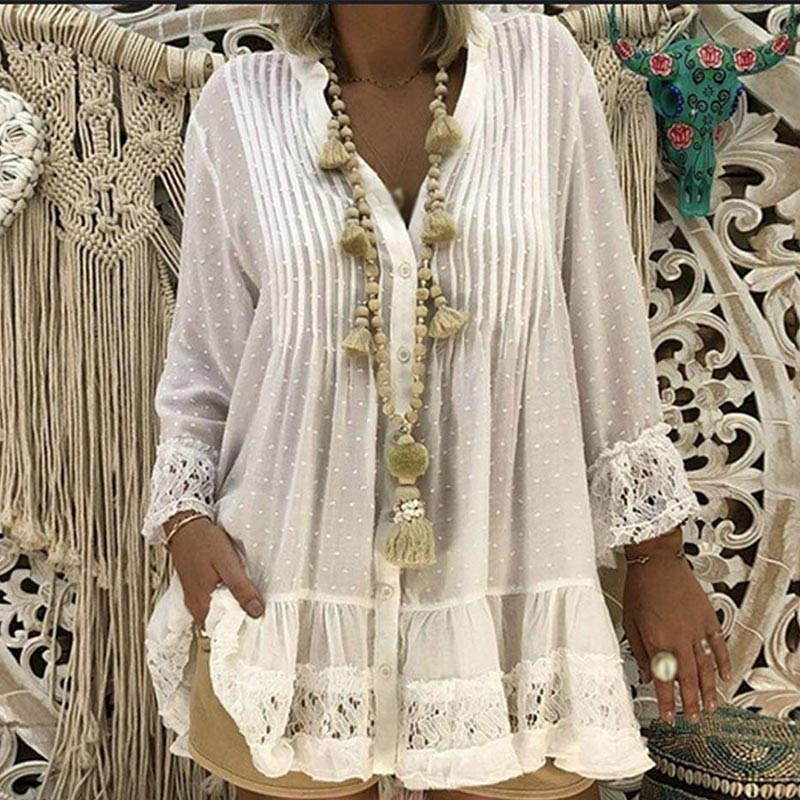 Women's Lace Chiffon V-Neck Tunic Shirt Long Sleeve Solid Loose Womens Tops And Clothes 2020 Spring Summer Shirts Plus Size