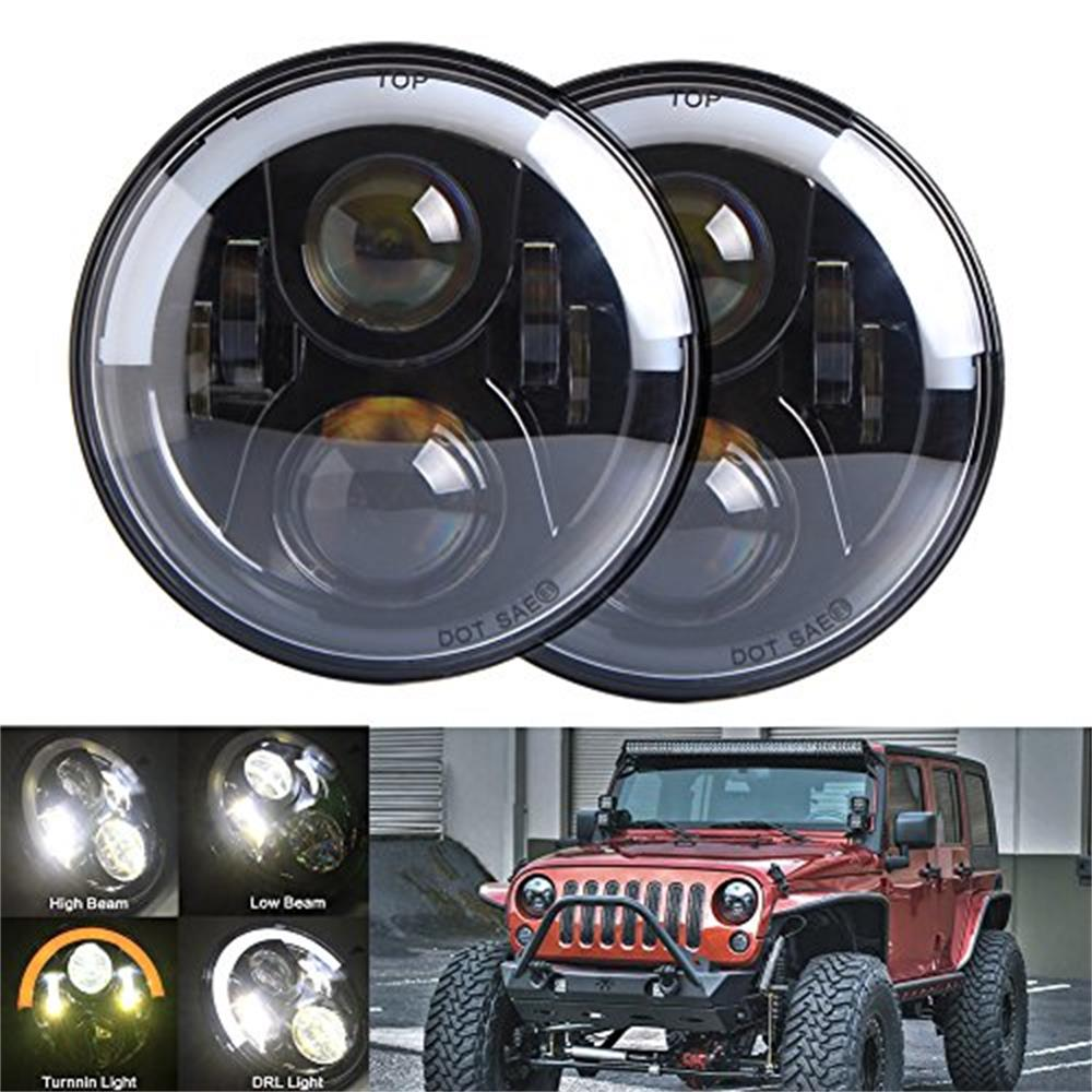 7 LED Headlight Half Top Halo Angel Eye Hi/lo Beam / DRL lamp For Jeep Wrangler JK TJ Harley Davidson H4 Plug H4-h13 Adapter