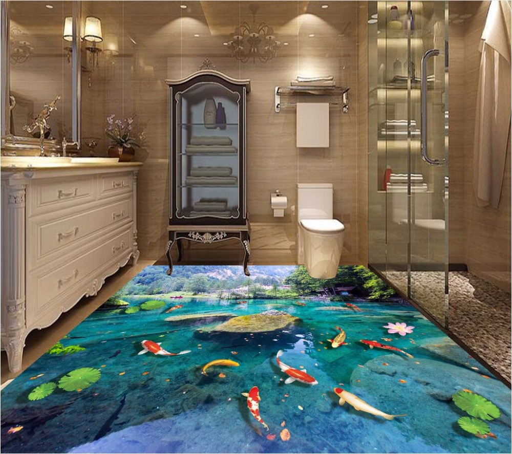 Custom mural 3d flooring picture pvc self adhesive sticker Lotus carp stone painting 3d wall murals wallpaper for walls 3 d custom photo 3d ceiling murals wallpaper european mythological figure angelic painting 3d wall murals wallpaper for walls 3 d