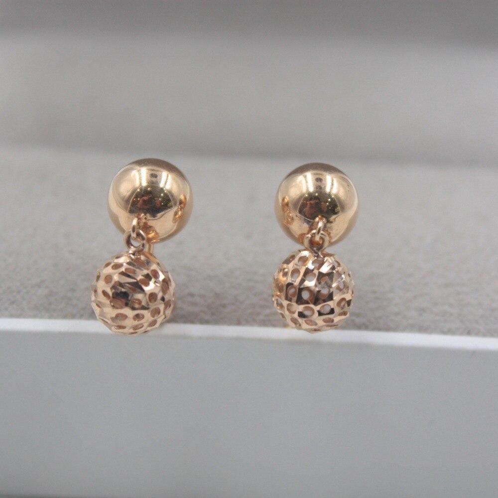 Boucles d'oreilles en or Rose 18 K pur personnalisé balle lisse creux mignon boucles d'oreilles 2.8-3.0g bijoux de tous les jours petite amie meilleur cadeau - 4
