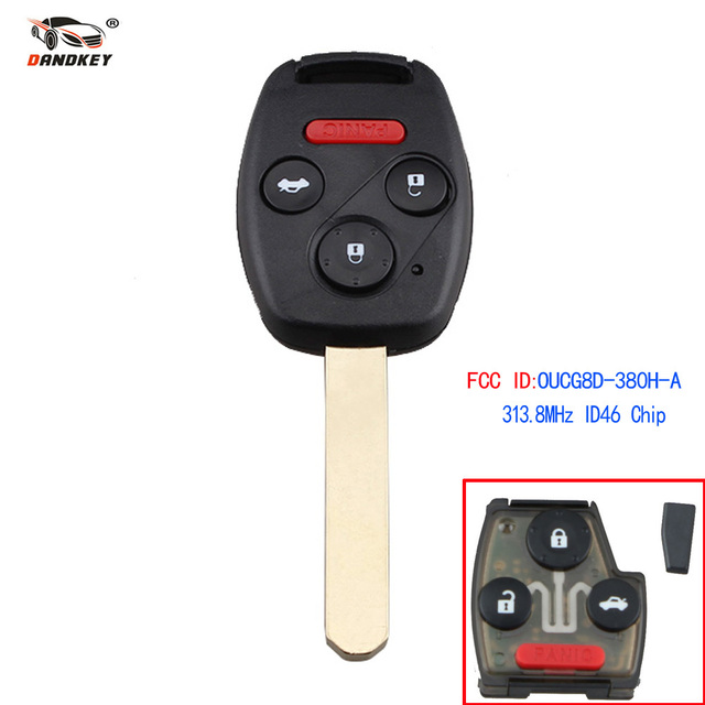 Dandkey Car Keyless Entry Remote Key 4 Buttons Fob 313.8Mhz With ID46 Chip OUCG8D-380H-A For Honda Accord 2003-2007 New Product