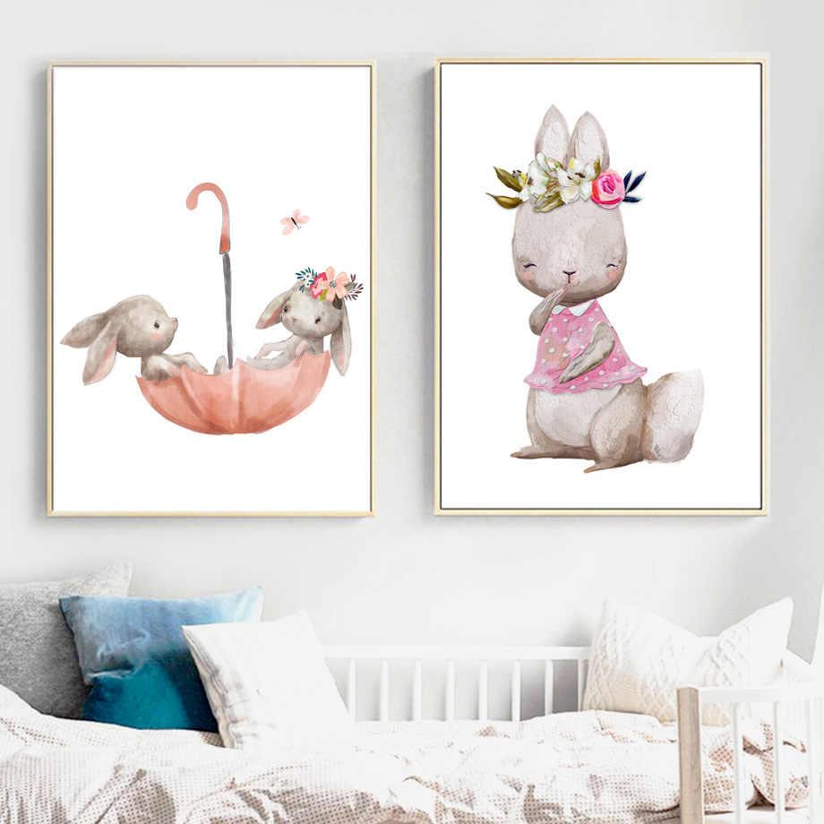 Детская настенная живопись садик с изображением кролика и лисы, холст, мультфильм, плакаты на скандинавскую тему и принты, настенные картины, девочка, мальчик, детская комната, Декор