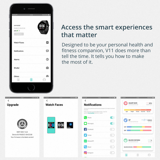 COLMI V11 Smart watch IP67 waterproof Tempered glass Activity Fitness tracker Heart rate monitor BRIM Men women smartwatch