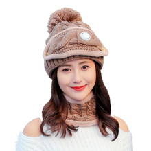 SUOGRY Winter Women Scarf Hat Set Knit Wool Skullies Beanies Real Fur Pom Hats And Infinity Scarves For Girls