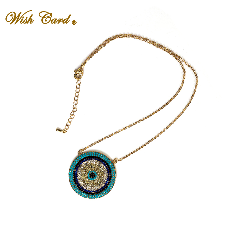 Wish Card Multi CZ Crystal Big Round Pendant Turkey Evil Eye Necklace For Women Jewelry Gold Color Chain Jewelry Gift EY5229