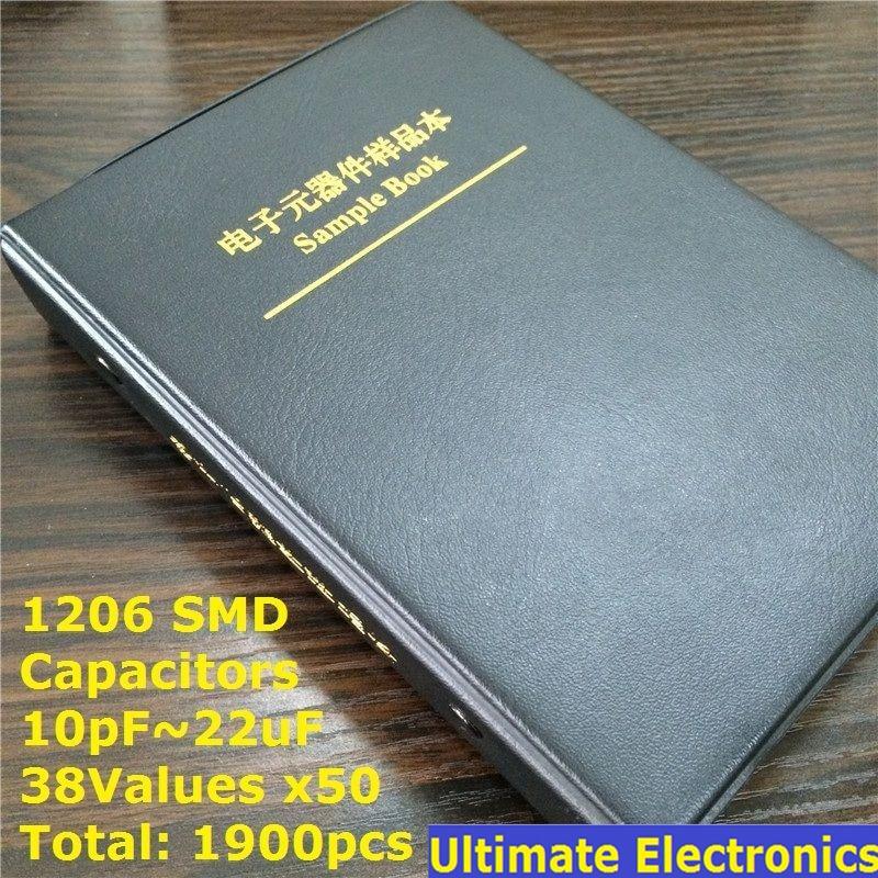 1206 Chip de SMT SMD livro Da Amostra Capacitor Assorted Kit 38valuesx50pcs = 1900pcs (10pF para 22 uF)