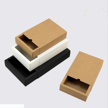 10pcs Black kraft gift packaging cardboard box black packing white paper drawer wedding favor delicate