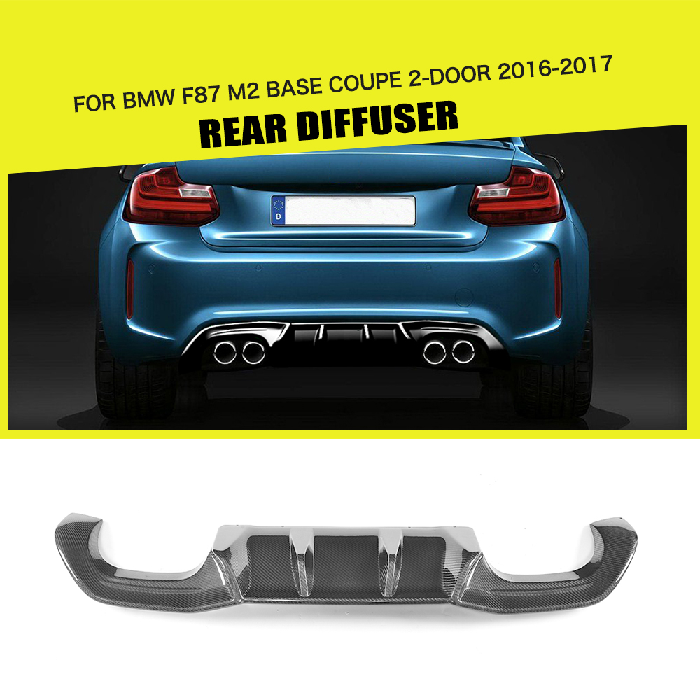 Carbon Fiber Big Fins Rear Diffuser Lip Spoiler Bumper Guard For BMW F87 M2 Base Coupe 2 Door 2016-2017 PB Style Car Styling