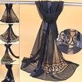 Silk Georgette Scarf Black Silk Scarf 100% Silk Scarf Handmade Woven