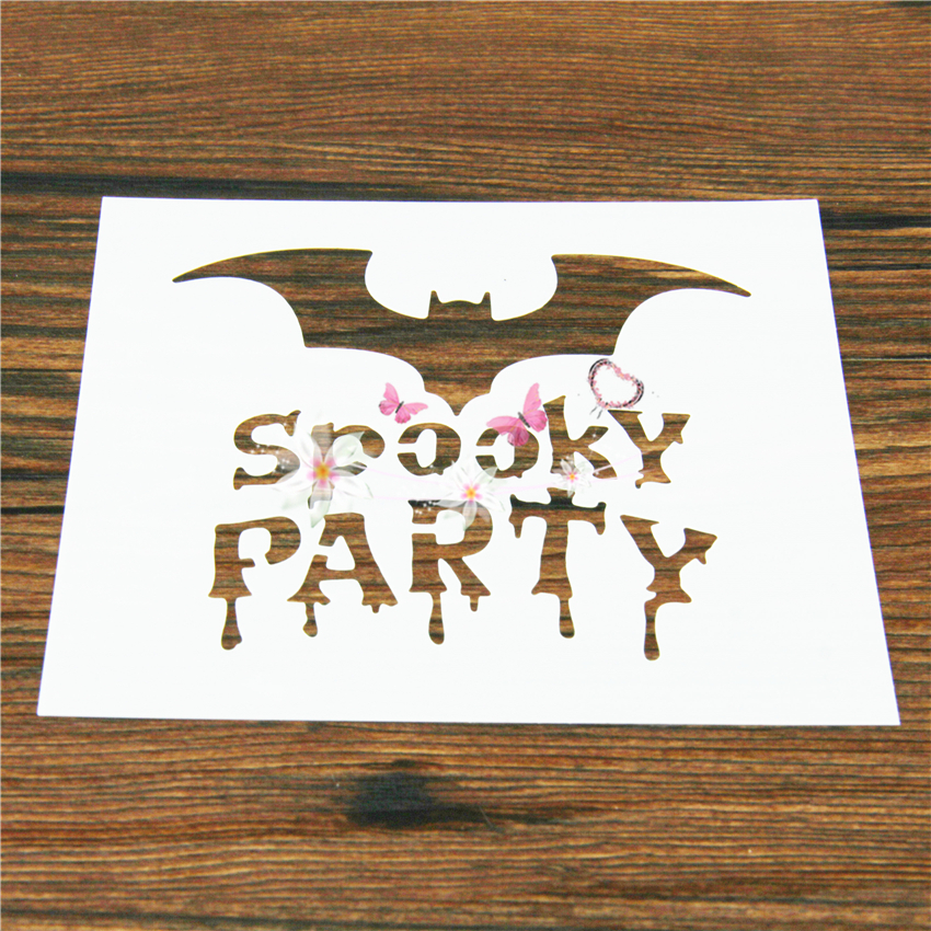 Y Party Bat Plastic Spray Flower Cake Stencil Wall Painting Mold Pad Cupcake Fondant Baking Tool Moulds Fq4128 In Molds From Home