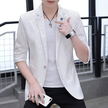 Men in 2019 slim handsome personality spring and summer printed fashion casual suit Popular trend