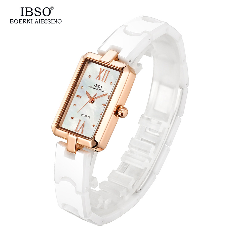 IBSO High Quality Ceramic Strap Women Watches 2019 Rectangle Case Shell Dial Watch Female Fashion Quartz Wristwatch Montre Femme