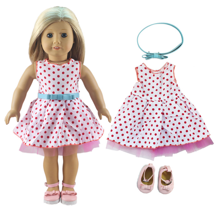 1 Set Doll Clothes for 18 Inch American Girl Handmade Beautiful Princess Dress