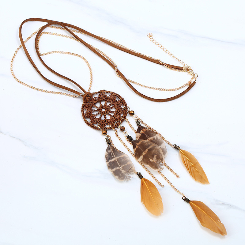 Bohemian Collier Statement Chain Maxi Feather Necklace