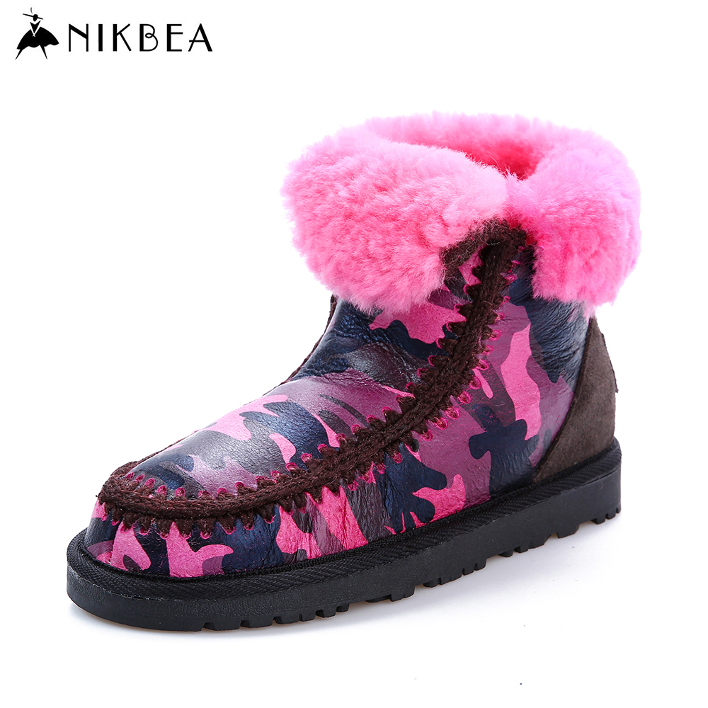 Nikbea 2016 Fur Genuine Nature Leather Wool Snow Winter Boots for Women Sheepskin Camouflage Boot Shoes Warm Ankle Boots Slip On