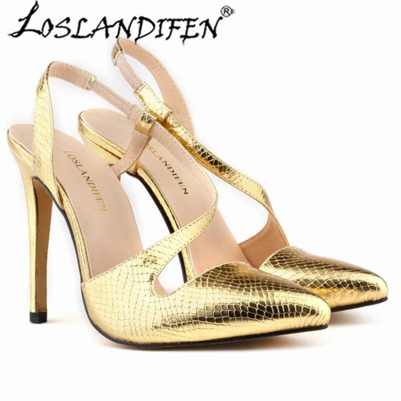 5a39e1b6681 LOSLANDIFEN Women Sexy Pumps High Heels Crocodile Grain Stilettos Pointed  Toe Sandals Shoes 302-15XEY