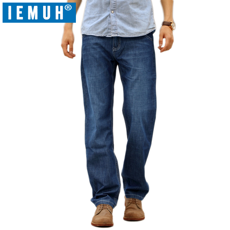 IEMUH Brand Plus Size 28-48 Men Jeans Denim Jeans Casual Middle Waist Loose Long Pants Male Solid Straight Jeans Men Classical forsining latest design men s tourbillon automatic self wind black genuine leather strap classic wristwatch fs057m3g4 gift box