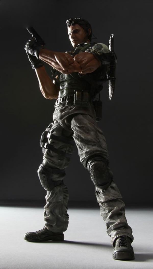 Resident Evil Play Arts Kai Action Figure Chris Biohazard PVC Toy 25cm Anime Movie Model Resident Evil Playarts Kai