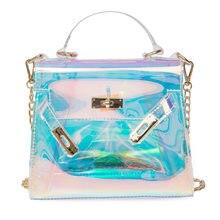 HOT Clear Candy Jelly Chain Shoulder Bag Women Small Summer Laser PVC Flap Purse  Transparent Plastic Messenger Handbag 04cfcbc7e7e1f