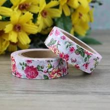 1PC pink rose flower washi tape  1.5cm*10m