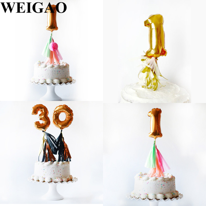 WEIGAO Birthday Party Cake Toppers 7inch Mini Number Foil ...