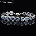 Luxury CZ Simulated Diamond Jewelry Blue Mystic Created Topaz Heart Crystal 925 Sterling Silver Tennis Bracelet For Women BR084