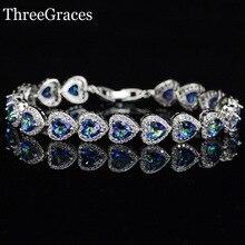 Regalo de La Joyería de lujo CZ Diamond Sparkling Blue Mystic Topaz Cristalino Del Corazón Plata de Ley 925 Brazalete de Tenis Para Las Mujeres BR84