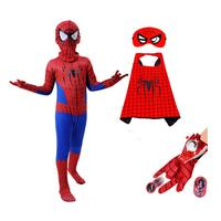 Free Shipping Halloween Adult Children's Clothing Cos Red Spider Man Clothes Tights Superhero Cosplay Masquerade Set
