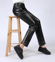 Spring and autumn plus velvet thickening fashion trousers women leather pants woman pantalon femme straight casual black father