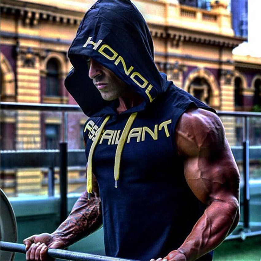 2018 Men's Cotton Hooded Men   Tank     Top   Men s Fitness Clothing Bodybuilding Vest Summer Mens Fashion Sleeveless Casual Vest