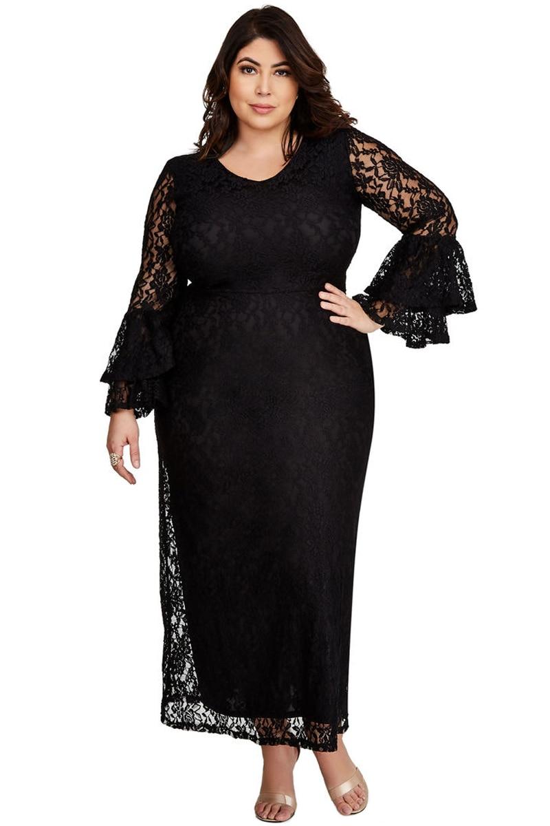 5d15dbb993 US $26.3 41% OFF|Dear Lover 2018 Autumn Women Fashion Big Size Black Lace  Bell Sleeve Plus Size Maxi Party Dress Vestidos de Festa Longo LC610353-in  ...
