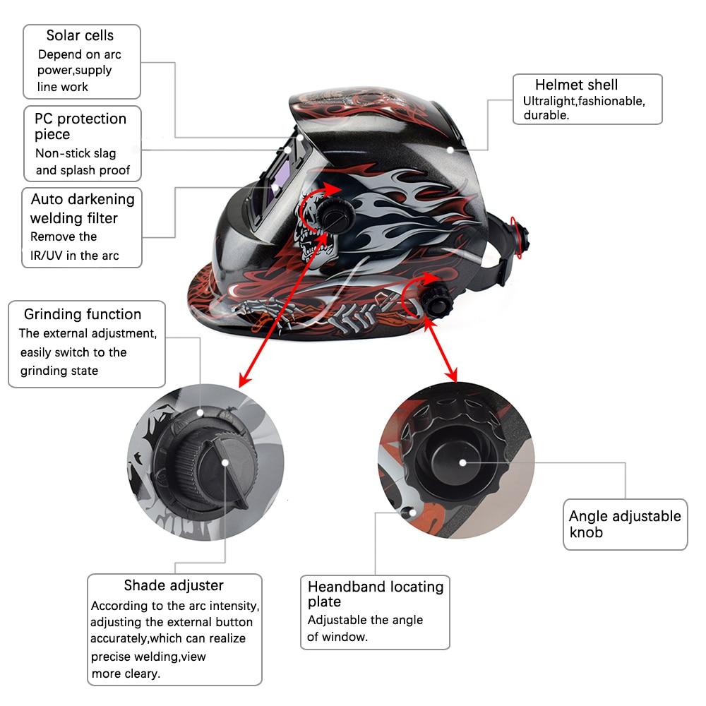 NEWACALOX Schädel Elektrische Schweißen Maske Solar Auto Verdunkelung Tig Mig Schweißen Helm für Schweiß/Schleifen/IR Erhaltung Schweißen werkzeug