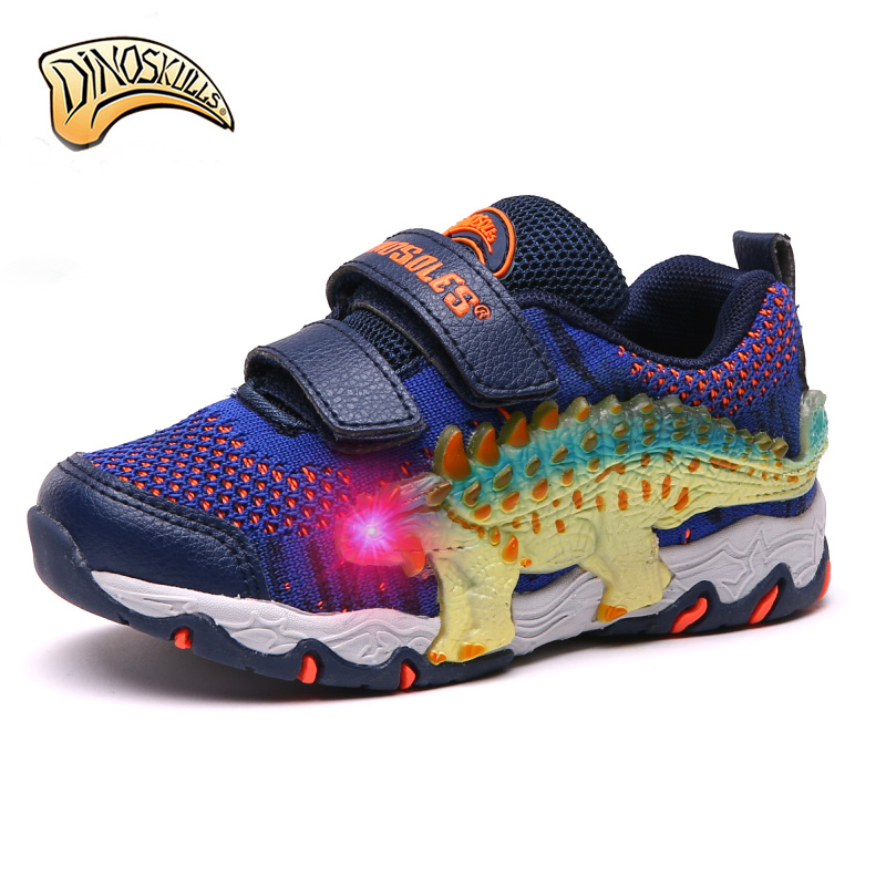 $34.60 Dinoskulls Children's Glowing Sneakers Boy Led Light Up Shoes Sneakers Kids Sport Running Breathable Shoes zapatillas con luces