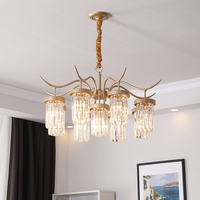 Modern Nordic Country Crystal Chandelier European Golden Luxury Crystal Light Bedroom Restaurant Aisle Creative Retro Lighting