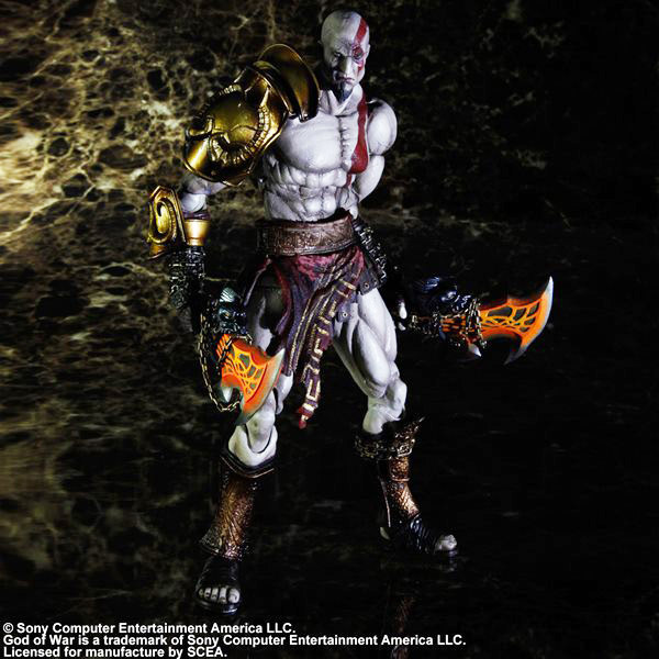 Hot ! NEW 28cm God of War Kratos action figure toy Christmas gift god of war statue kratos ye bust kratos war cyclops scene avatar bloody scenes of melee full length portrait model toy wu843