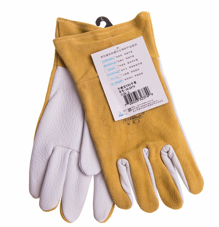 Grain Deerskin Leather Work Glove TIG MIG Welding Safety Glove Grain Goat Leather Welding Glove все цены