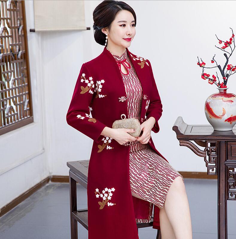 Новое поступление осень зима Китайская традиционная Женская 2 шт Qipao шерсть чеонгсам Новинка китайское торжественное платье Размер M L XL XXL - Цвет: 0871