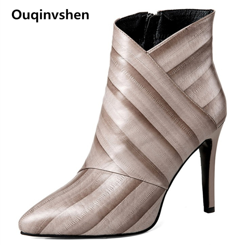 Ouqinvshen 2018 New Striped Mixed Colors Ankle Boots For Women Party Sexy Thin Heels Boots Winter Women Pointed Toe High PumpsOuqinvshen 2018 New Striped Mixed Colors Ankle Boots For Women Party Sexy Thin Heels Boots Winter Women Pointed Toe High Pumps