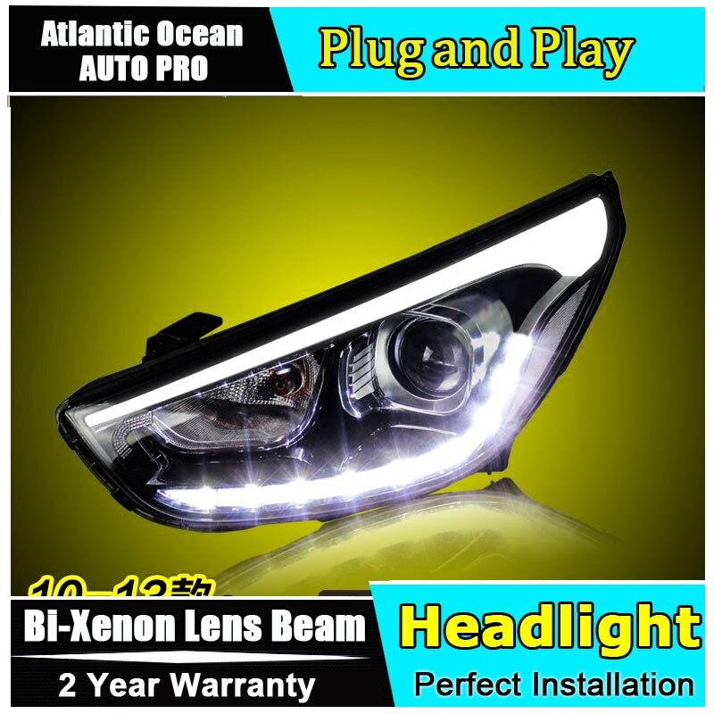 стайлинга автомобилей для Хендай ix35 фары ангельские глазки для Хендай ix35 2010-2013 би-ксенон, двойной объектив, спрятанный