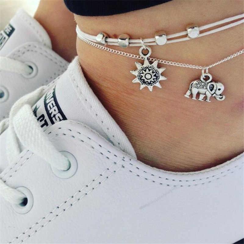 Vintage หลายชั้น Anklets สำหรับผู้หญิงช้าง Sun จี้ Charms เชือกชายหาดฤดูร้อนเท้าข้อเท้าสร้อยข้อมือเครื่องประดับ jn0474