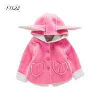 Autumn Fashion Cute Rabbit Ear Hooded Baby Girls Coat New Tops Kids Warm Long Sleeve Jacket