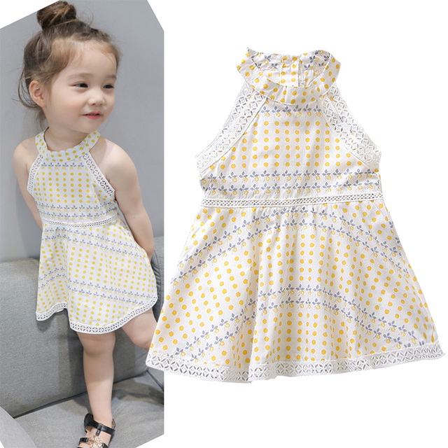 f84452655 Summer baby dress girls suspender dress kids vestidos children fashion  clothes hollow out geometric halter 3 to 7 yrs
