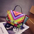 2015  High quality  color rivet handbags bolso valentine bags for women luxury bag