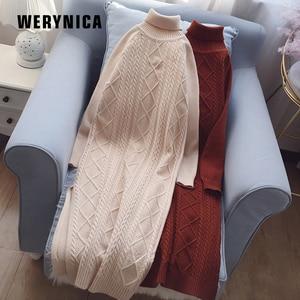 Werynica 2019 Autumn Winter Sweater Dress Women Warm Solid Female Turtleneck Knitted High Elastic Elegant Dress robe hiver femme(China)