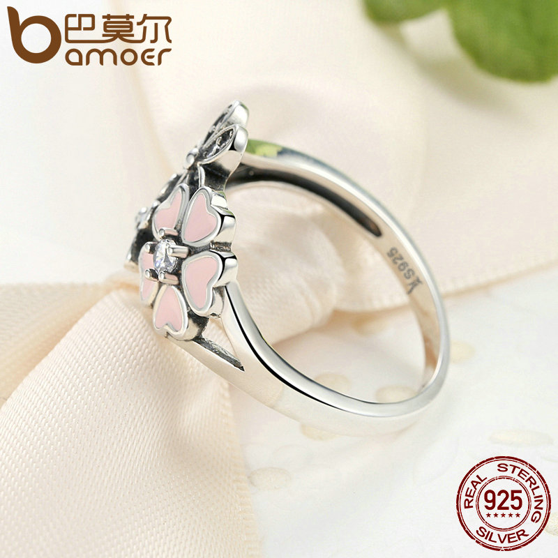Bamoer 925 sterling silver pink flower poetic daisy cherry blossom bamoer 925 sterling silver pink flower poetic daisy cherry blossom finger ring for women engagement fashion jewelry scr004 in engagement rings from jewelry mightylinksfo