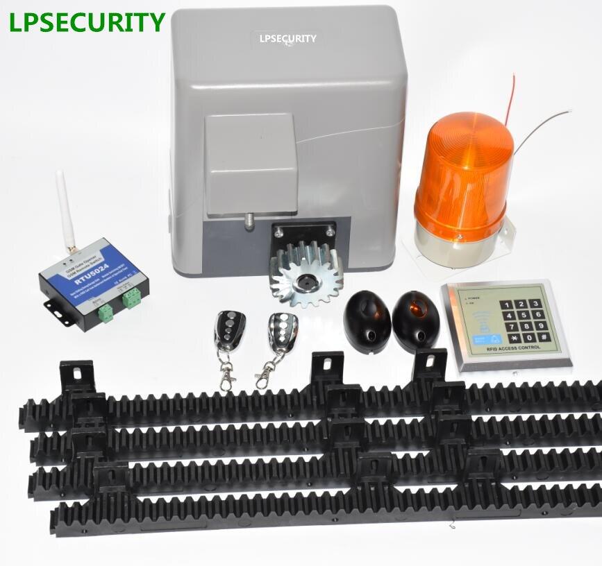 LPSECURITY electrical automatic sliding gate door opener motor 600kg 4 keyfobs 5m/6m racks 1 keypad 1 lamp 1 sensor 1 BUTTON