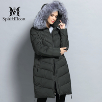 SpiritMoon 2017 Women Winter Thick Hooded Coat Bio Down Jacket Female Down Parka With Natural Fur