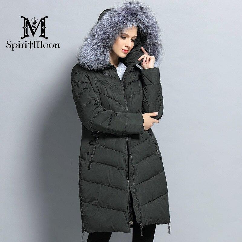 SpiritMoon 2017 mujer invierno grueso abrigo con capucha Bio Down chaqueta mujer abajo Parka con cuello de piel Natural grande talla grande 5XL 6XL