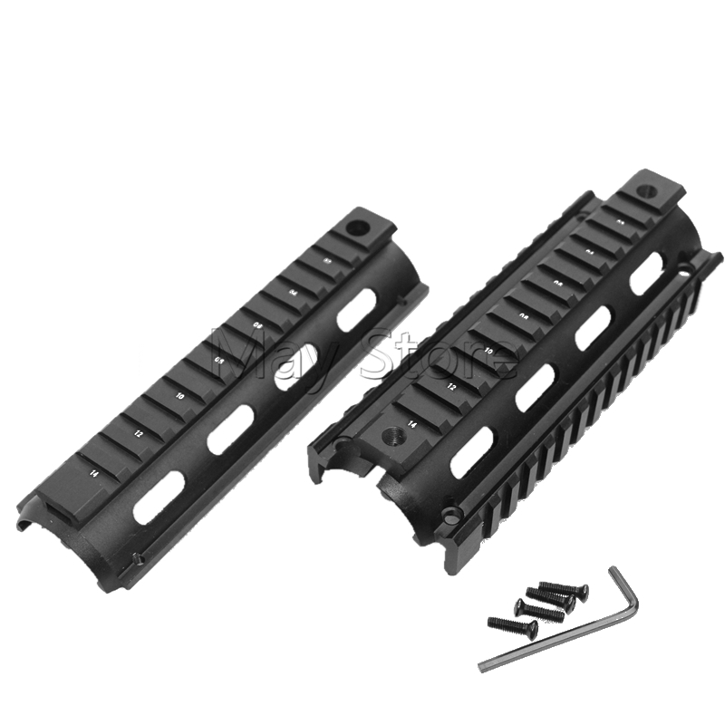 <font><b>AR</b></font> AR15 M4 Rifle <font><b>Handguard</b></font> 6.7 inch Hunting Tactical Shooting Picatinny Quad Rail <font><b>Handguard</b></font> with 4 Picatinny rails image
