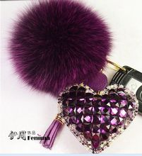 Fur Pom Pom Fluffy Genuine Rabbit Fur Ball Keychain Crystal Heart Pendant  For Women Bag Charm KeyringWomen Bag Accessories